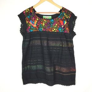 Mexican embroidered bohemian chic blouse top